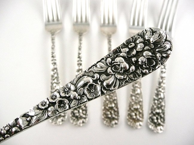 Wallace Sterling Silver Rose Pattern Fruit Spoon from hillandhill